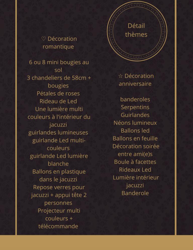 liste des prix de jacuzzihomebruxelles pour une location de spa à domicile avec les différents thèmes proposées